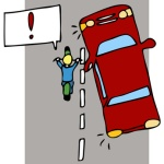 image of a car pulling out into the road without seeing an oncoming motorcycleon the left