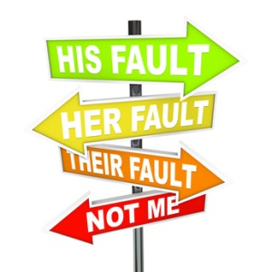 Arrow SIgns reading His Fault, Her Fault, Their Fault, Not Me (Shifting Blame)