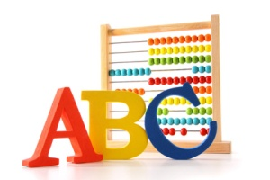 ABC letters standing next to an abacus
