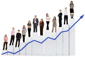 Group of people standing on a graph line that is pointing upward