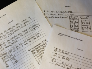 three samples of student work on a math task